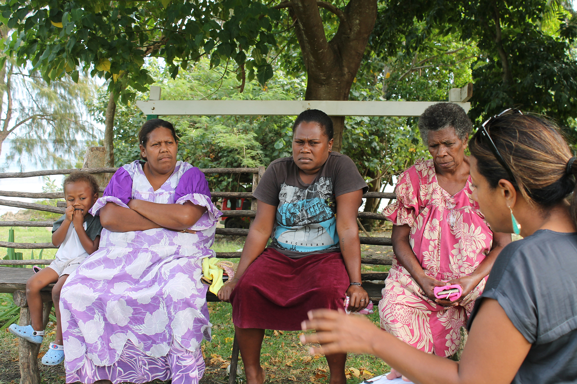 Interviewing women who participated in the CBC program from the community of Managalilou (Managalilou, Efate)